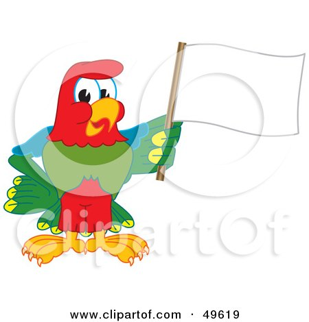 Royalty-Free (RF) Clipart Illustration of a Macaw Parrot Character Mascot Waving a Blank Flag by Toons4Biz