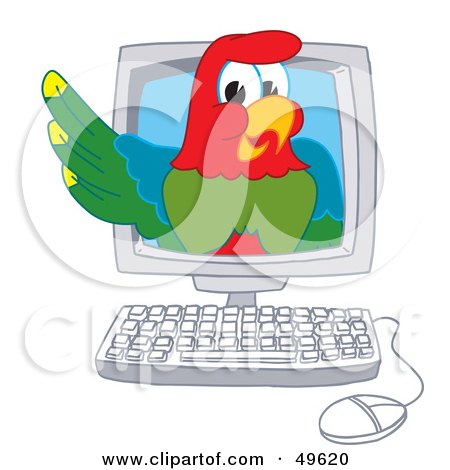 Royalty-Free (RF) Clipart Illustration of a Macaw Parrot Character Mascot in a Computer by Toons4Biz
