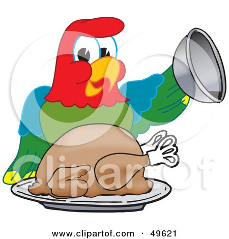 Royalty-Free (RF) Clipart Illustration of a Macaw Parrot Character Mascot Serving a Turkey by Toons4Biz