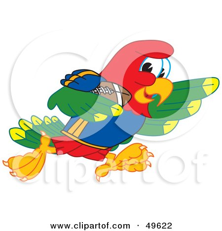 Royalty-Free (RF) Clipart Illustration of a Macaw Parrot Character Mascot Running With a Football by Toons4Biz