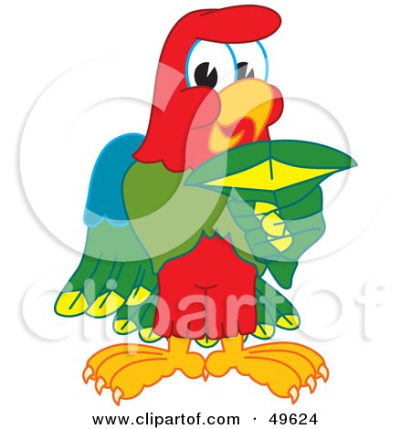Royalty-Free (RF) Clipart Illustration of a Macaw Parrot Character Mascot Holding a Shark Tooth by Toons4Biz