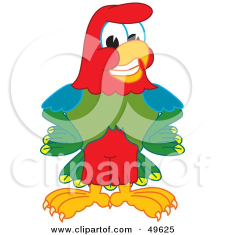 Royalty-Free (RF) Clipart Illustration of a Macaw Parrot Character Mascot Smiling by Toons4Biz