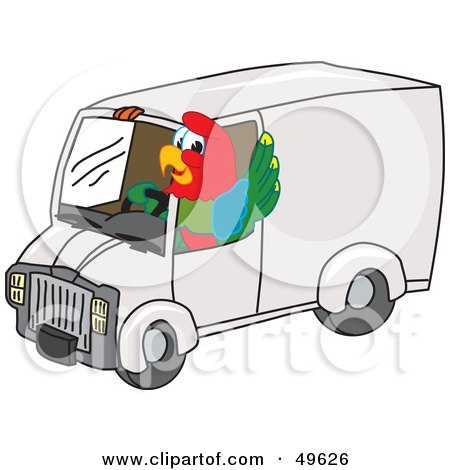 Royalty-Free (RF) Clipart Illustration of a Macaw Parrot Character Mascot Driving a Delivery Van by Toons4Biz