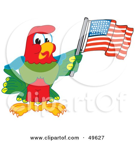 Royalty-Free (RF) Clipart Illustration of a Macaw Parrot Character Mascot Waving an American Flag by Toons4Biz
