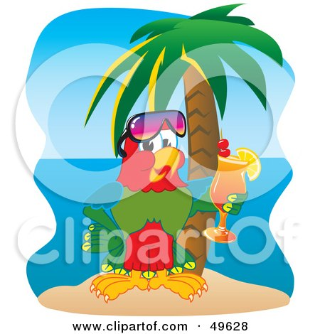 Royalty-Free (RF) Clipart Illustration of a Macaw Parrot Character Mascot Drinking A Cocktail On A Tropical Beach by Toons4Biz