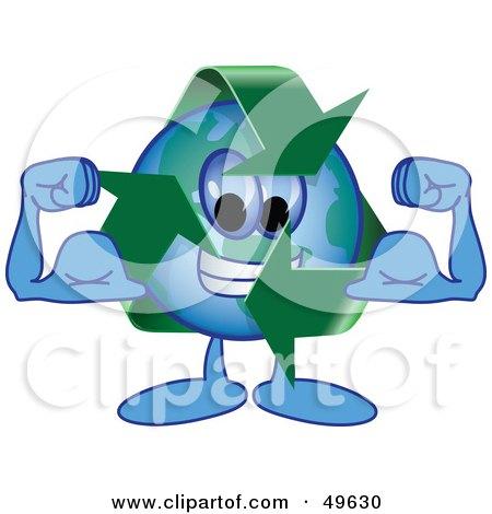 Recycle Character Mascot Flexing Posters, Art Prints
