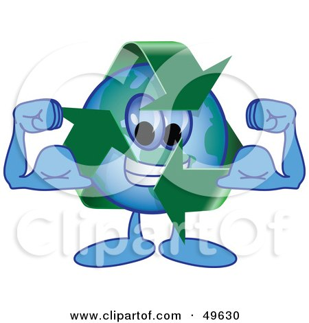 Royalty-Free (RF) Clipart Illustration of a Recycle Character Mascot Flexing by Toons4Biz