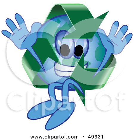 Royalty-Free (RF) Clipart Illustration of a Recycle Character Mascot Jumping by Toons4Biz