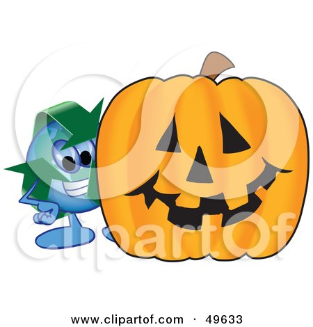 Royalty-Free (RF) Clipart Illustration of a Recycle Character Mascot With a Halloween Pumpkin by Toons4Biz
