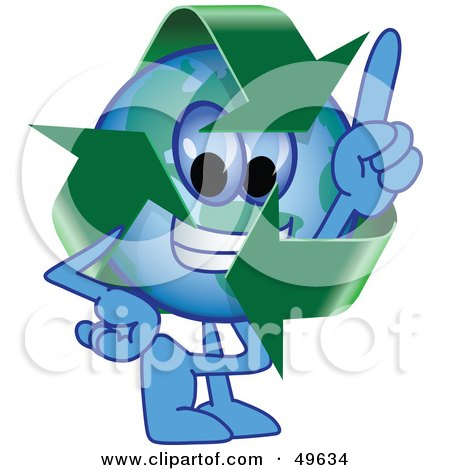 Royalty-Free (RF) Clipart Illustration of a Recycle Character Mascot Pointing Upwards by Toons4Biz
