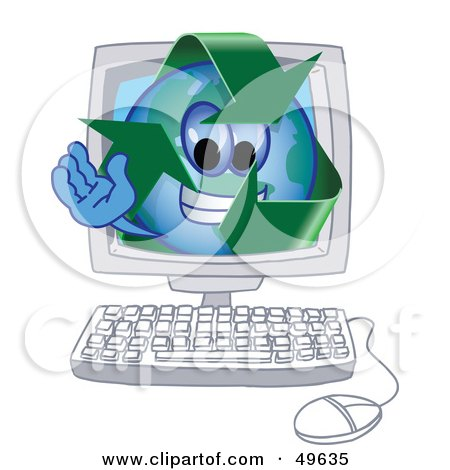 Royalty-Free (RF) Clipart Illustration of a Recycle Character Mascot in a Computer by Toons4Biz