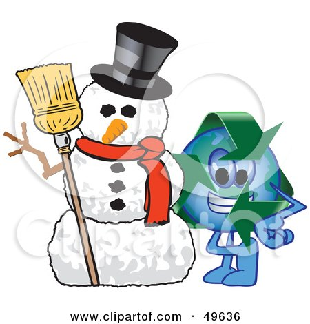 Royalty-Free (RF) Clipart Illustration of a Recycle Character Mascot With a Snowman by Toons4Biz