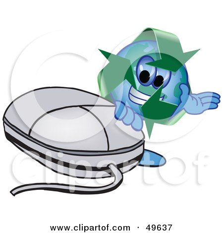 Royalty-Free (RF) Clipart Illustration of a Recycle Character Mascot With a Computer Mouse by Toons4Biz