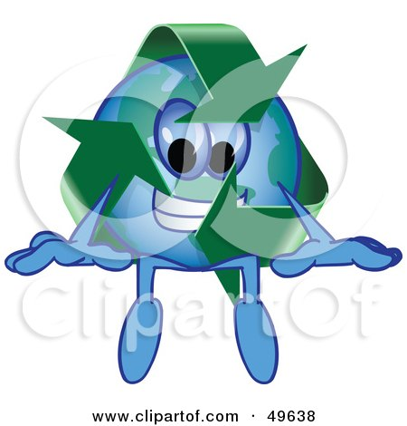 Royalty-Free (RF) Clipart Illustration of a Recycle Character Mascot Sitting by Toons4Biz