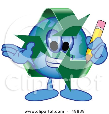 Royalty-Free (RF) Clipart Illustration of a Recycle Character Mascot Holding a Pencil by Toons4Biz