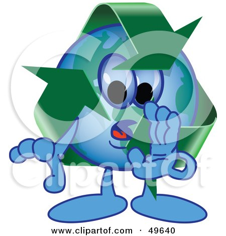 Royalty-Free (RF) Clipart Illustration of a Recycle Character Mascot Whispering by Toons4Biz