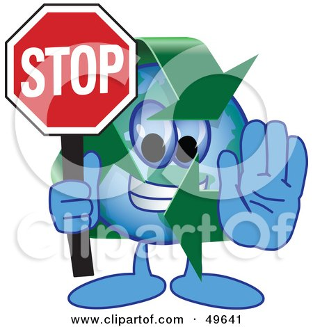 Recycle Character Mascot Holding a Stop Sign Posters, Art Prints