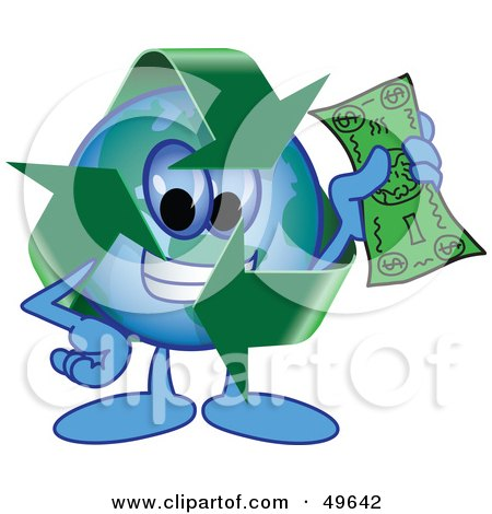 Royalty-Free (RF) Clipart Illustration of a Recycle Character Mascot Holding Cash by Toons4Biz