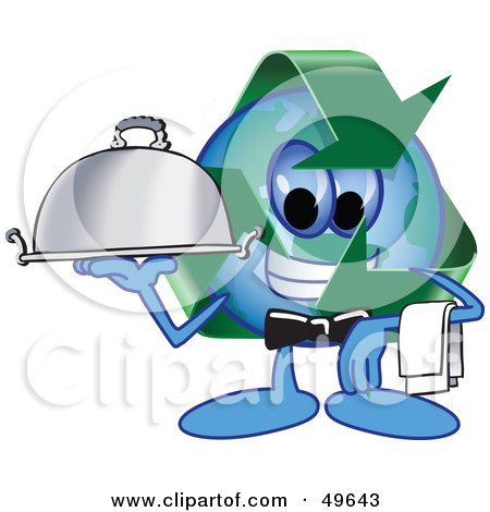 Recycle Character Mascot Serving a Platter Posters, Art Prints