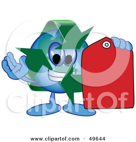 Royalty-Free (RF) Clipart Illustration of a Recycle Character Mascot Holding a Red Price Tag by Toons4Biz