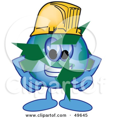 Royalty-Free (RF) Clipart Illustration of a Recycle Character Mascot Wearing a Hard Hat by Toons4Biz