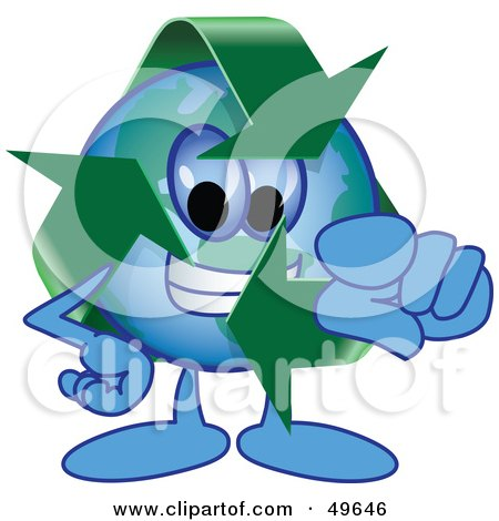 Royalty-Free (RF) Clipart Illustration of a Recycle Character Mascot Pointing Outwards by Toons4Biz