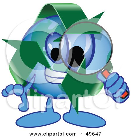 Royalty-Free (RF) Clipart Illustration of a Recycle Character Mascot Using a Magnifying Glass by Toons4Biz