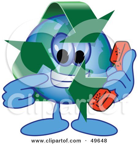 Recycle Character Mascot Holding a Phone Posters, Art Prints