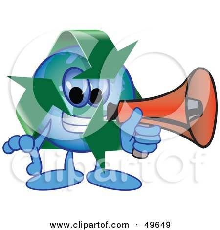 Royalty-Free (RF) Clipart Illustration of a Recycle Character Mascot Using a Megaphone by Toons4Biz