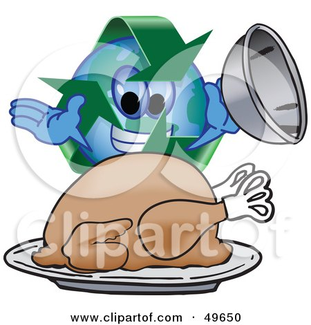 Royalty-Free (RF) Clipart Illustration of a Recycle Character Mascot Serving a Thanksgiving Turkey by Toons4Biz