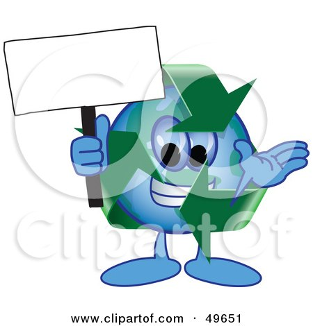 Royalty-Free (RF) Clipart Illustration of a Recycle Character Mascot Holding a Blank Sign  by Toons4Biz