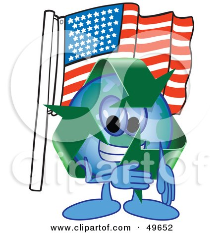 Royalty-Free (RF) Clipart Illustration of a Recycle Character Mascot Pledging Allegiance to an American Flag by Toons4Biz