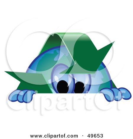 Royalty-Free (RF) Clipart Illustration of a Recycle Character Mascot Looking Over a Surface by Toons4Biz