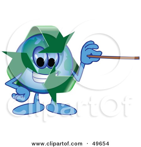 Royalty-Free (RF) Clipart Illustration of a Recycle Character Mascot Holding a Pointer Stick by Toons4Biz