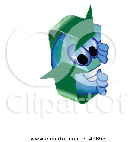 Royalty-Free (RF) Clipart Illustration of a Recycle Character Mascot Peeking by Toons4Biz