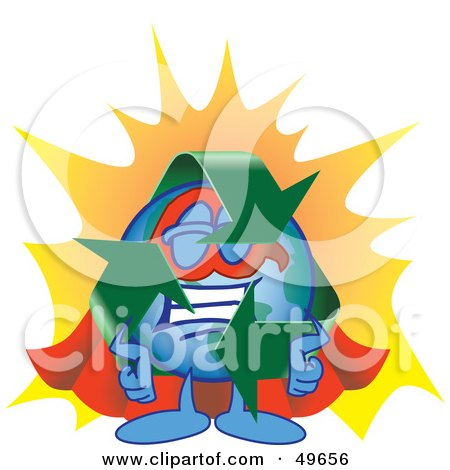 Royalty-Free (RF) Clipart Illustration of a Recycle Character Mascot Super Hero by Toons4Biz