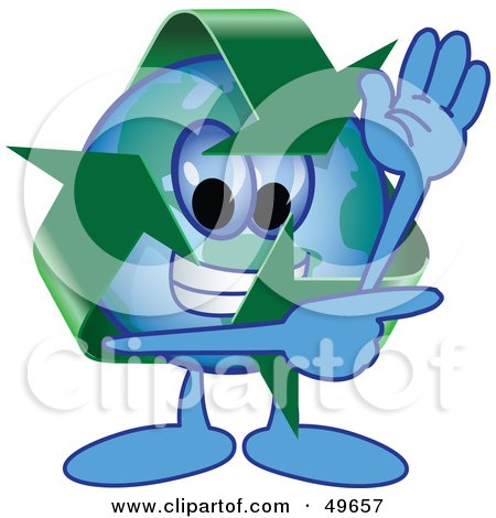 Royalty-Free (RF) Clipart Illustration of a Recycle Character Mascot Waving and Pointing by Toons4Biz