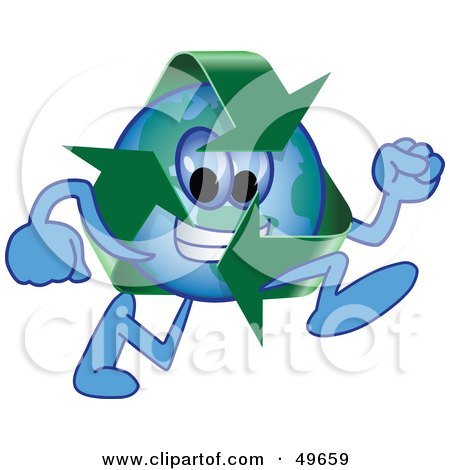 Royalty-Free (RF) Clipart Illustration of a Recycle Character Mascot Running by Toons4Biz