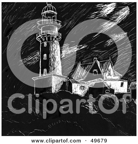 Black and White Sketched Lighthouse Posters, Art Prints