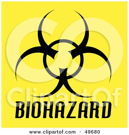Royalty-Free (RF) Clipart Illustration of a Black Biohazard Symbol on Yellow by Arena Creative