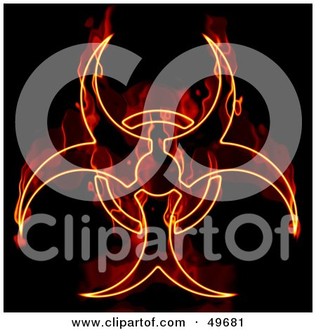 Royalty-Free (RF) Clipart Illustration of a Flaming Biohazard Symbol on Black by Arena Creative