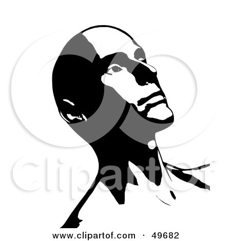 Royalty-Free (RF) Clipart Illustration of a Bald Man Leaning Back And Looking Up, In Black And White by Arena Creative