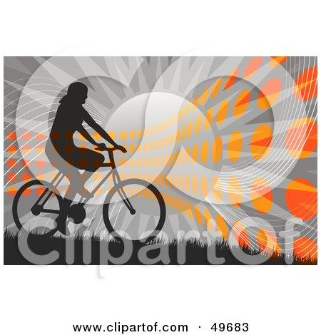 Royalty-Free (RF) Clipart Illustration of a Bicyclist Silhouette Against A Gray Sunburst With Orange Dots by Arena Creative