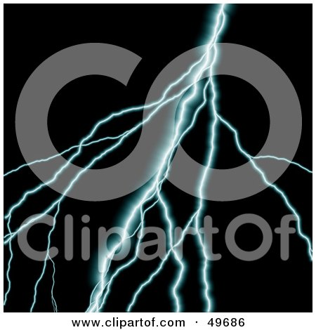 Royalty-Free (RF) Clipart Illustration of a Blue Bolt of Lightning on Black by Arena Creative