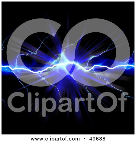 Royalty-Free (RF) Clipart Illustration of a Blue Bolt Of Striking Lightning With A Burst On Black by Arena Creative