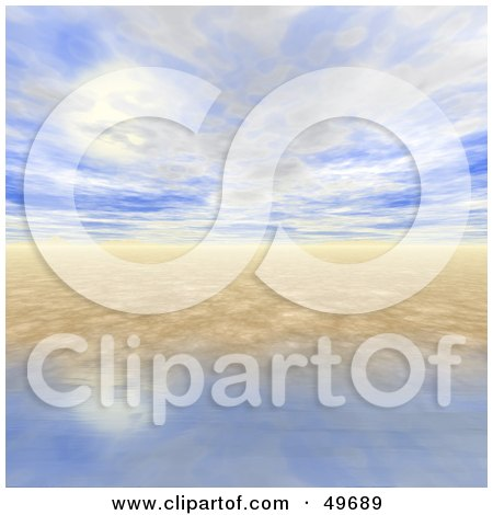 Royalty-Free (RF) Clipart Illustration of a 3d Ocean and Sky Horizon Seascape Background by Arena Creative