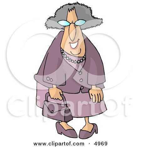 Funny Elderly Woman Going Shopping Posters, Art Prints