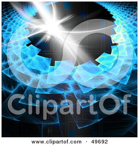 Royalty-Free (RF) Clipart Illustration of a Blue Fractal Vortex With A Burst Of Light On Black by Arena Creative