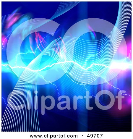 Royalty-Free (RF) Clipart Illustration of Lightning Striking A Wave On A Pink And Blue Background by Arena Creative