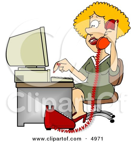 Female Customer Service Representative Talking On Phone and Using Computer Clipart by djart
